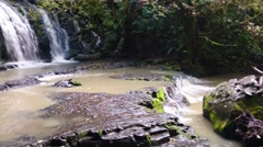Purakaunui Falls Waterfall in The Catlins, Otago, New Zealand Stock Footage