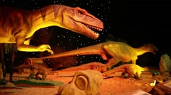 Five dinosaurs at Show of dinosaurs in pavillion of VDNKH Stock Footage