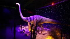 Omeisaurus at Show of dinosaurs in pavillion of VDNKH Stock Footage