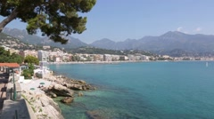 Cap Martin and Roquebrune, French riviera coast with blue sea in summer Stock Footage