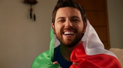 Italian Fan Celebrating in Slow Motion Stock Footage