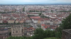 Aerial view of Lyon, France at sunset, ULTRA HD 4K,real time , zoom Stock Footage