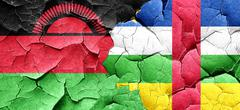 Malawi flag with Central African Republic flag on a grunge crack - stock illustration