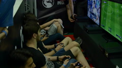 Teenagers Testing New Video Games At Convention, Having Fun Stock Footage