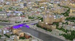 Stalin skyscraper miniature with illumination in VDNKH exhibition Stock Footage