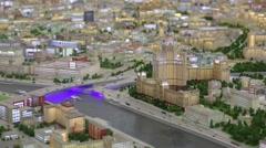 Stalin skyscraper miniature with illumination in VDNKH exhibition Stock Footage