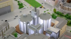 Miniature of modern illuminated building in VDNKH exhibition Stock Footage