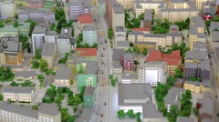 Miniature of Moscow street, road with cars and buildings in VDNKH exhibition Stock Footage