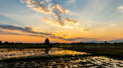Time lapse - sunset over the field  Stock Footage