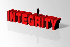 Integrity Concept Illustrated by Integrity Word and Person, 3D Rendering - stock illustration