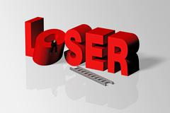 Loser Concept Illustrated by Loser Word and Person, 3D Rendering - stock illustration