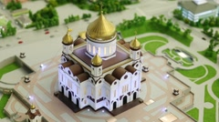 Beautiful Christ Savior Cathedral miniature with illumination Stock Footage