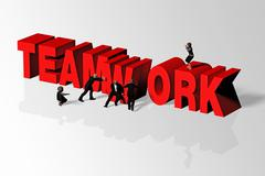 Teamwork Concept Illustrated by Teamwork Word and Group of People, 3D Renderi - stock illustration