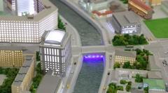 Commissariat bridge with illumination in VDNKH exhibition Stock Footage