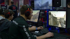 Teenagers Engaged In Gaming Tournament At Convention, ComicCon - stock footage
