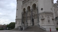 The Main Entrance To The Basilica Of Notre Dame De Fourviere In Lyon,ultra Hd 4K Stock Footage