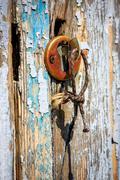 Old key in keyhole Stock Photos