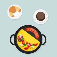 Breakfast Omelet with Sausage Icon in Modern Flat Style Vector I Stock Illustration
