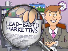 Lead-Based Marketing through Magnifier. Doodle Style Stock Illustration
