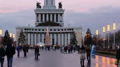 Main pavilion and christmas tree in VDNH park in Moscow Stock Footage