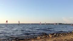 Windsurfers Racing, World Championship - stock footage