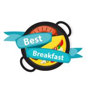 Breakfast Omelet with Sausage Icon in Modern Flat Style Vector I - stock illustration