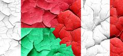 Madagascar flag with Peru flag on a grunge cracked wall - stock illustration