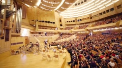 Auditorium before concert devoted to 100th anniversary of David Ashkenazy Stock Footage