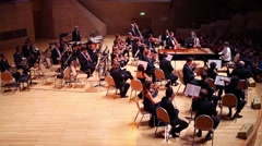Violinists at concert devoted to 100th anniversary of David Ashkenazy Stock Footage