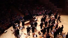 Orchestra goes away at concert in House of Music, Svetlanov hall Stock Footage