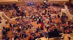 People go away after concert in House of Music, Svetlanov hall Stock Footage