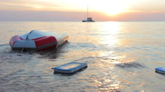 Upturned boat at the shore Stock Footage