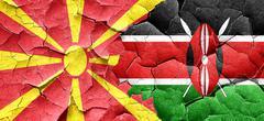 Macedonia flag with Kenya flag on a grunge cracked wall - stock illustration
