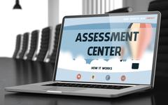 Landing Page of Laptop with Assessment Center Concept - stock illustration