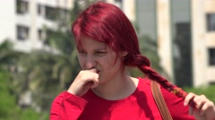 Unhappy Teen Female Redhead Stock Footage