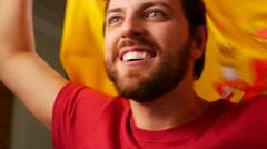 Spanish Fan Celebrating in Slow Motion Stock Footage