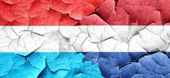 Luxembourg flag with Netherlands flag on a grunge cracked wall - stock illustration