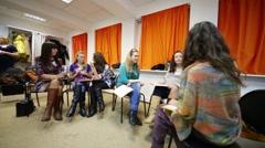 Team work at Disclosure of feminine style training of stylist Stock Footage
