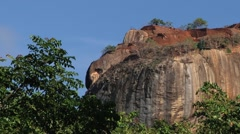 View to the top of the Sigiriya rock fortress in Sri Lanka. Stock Footage