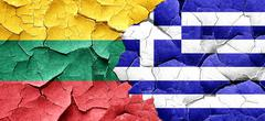 Lithuania flag with Greece flag on a grunge cracked wall Piirros