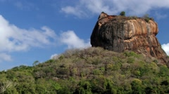 View to the Sigiriya rock fortress in Sri Lanka. Stock Footage