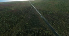 Aerial shot of lonely straight road. Road and beautiful nature. Stock Footage