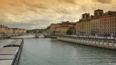 Architecture of Lyon along Saone River in dusk, Lyon, France. ULTRA HD 4k Stock Footage