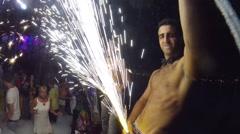 Foam party on Pirate Ship Viking in Mahmutlar, Turkey Stock Footage