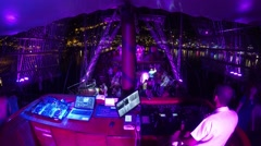 Command bridge and DJ booth at foam party on Pirate Ship Viking Stock Footage