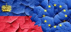 Liechtenstein flag with european union flag on a grunge cracked - stock illustration