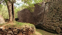 View to the ruins of the ancient Sigiriya rock fortress in Sigiriya, Sri Lanka. Stock Footage