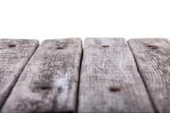 old boards perspective with white background - stock photo