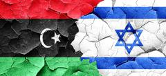 Libya flag with Israel flag on a grunge cracked wall Piirros