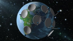 Earth with satellite dish - stock footage